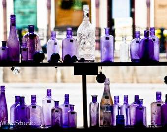 Vintage Purple Glass Bottles