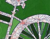 Bike Columbus - featuring Columbus, Upper Arlington, Newark, Ohio bike art print