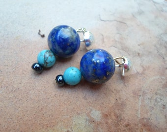 Blue Lapis and Turquoise Handmade Earrings