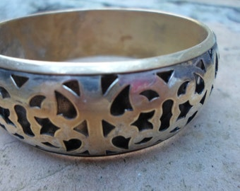 Ornate Vintage Cut Out Brass Bangle Bracelet