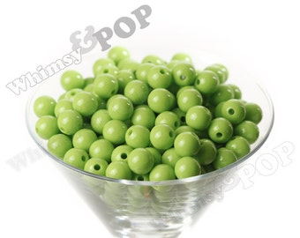 12mm - Lime Green Gumball Beads, 12mm Gumball Beads, 12mm Beads, Small Gumball Beads, Opaque Acrylic Round Beads, 2mm Hole