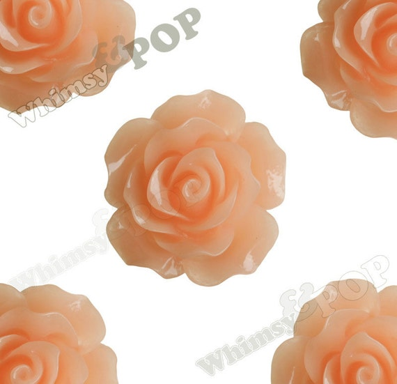 Large Detailed Peachy Orange Rose Deco Resin Cabochons, Flower Shaped, 20mm Rose Cabochons, 20mm x 9mm (R1-009)
