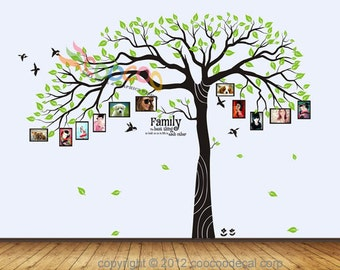 """Wall Decal Sticker Removable Photo Frame Tree With Family Branches Quote 80""""H x 102""""W DC0108"""