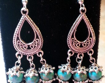 Beautiful Blue Dangle Earrings/Turquoise
