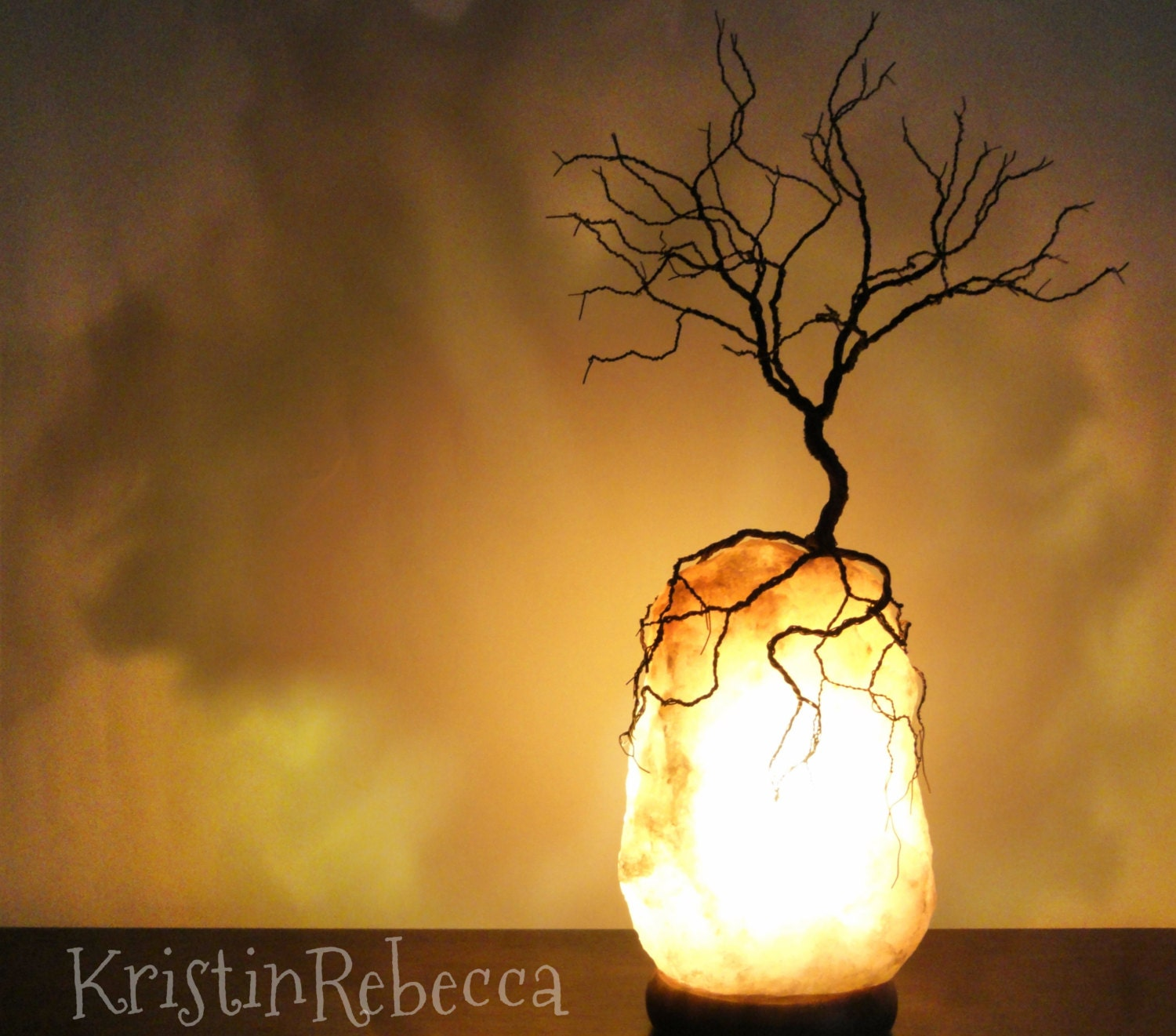 Wire Tree Sculpture And Salt Lamp Lighted Rock Sculpture Tree