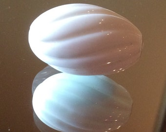 Vintage Swirled White Milk Glass Focal Point Beads 30x19mm QTY - 1 ONLY ONE