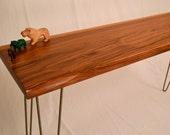 Walnut Side Table On Solid Steel Hairpin Legs