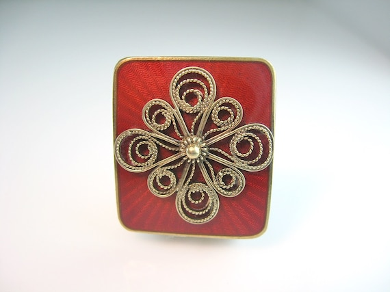 Norway Enamel Pin Vintage Signed Ivar T. Holth Red Guilloché w/ Sterling Silver Gold Gilt  Filigree Wire Work