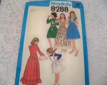 1977 Size 10 Simplicity 8288 Girls Dress Sewing Pattern Girls Pinafore Pattern Retro Girls Sundress Pattern Girls Party Dress Supply u