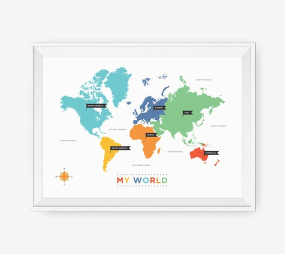 World map art for nursery world map poster wall art for like this item gumiabroncs Gallery