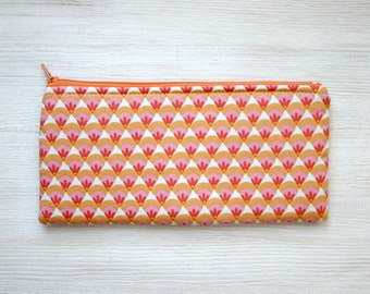 Organic cotton Pencil case Cosmetic pouch Back to school pink coral orange