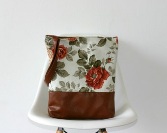 Big Tote Roses bag  Floral Vegan leather Brown Water resistant fabric Coral