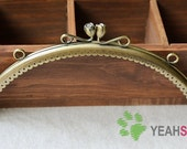 Antique Brass Purse Frame - Half Ellipse Wine Cup Diamond - 20cm / 7.9 inch (PF-26)