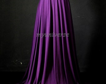 Maxi Skirt Full Length Skirt Jersey Aline Long Skirt Skirt Girl Ladies Women Skirt Purple Eggplant