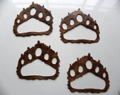 Bear Paw Prints set of 4 Metal Wall Art Country Rustic Home Decor