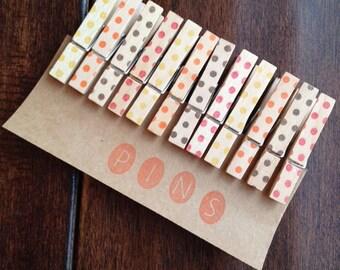 """Mini Clothespins """"Autumn Dots"""" - Set of 12 Handstamped Clothes Pins"""