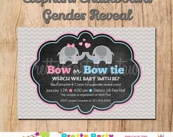 CHALKBOARD ELEPHANT gender reveal baby shower invitation - U PRINT