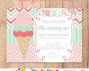 SHABBY Chic ICE CREAM invitation - You Print