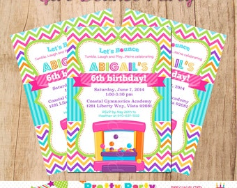 GIRLY BOUNCE party invitation - with or without photo - U PRINT