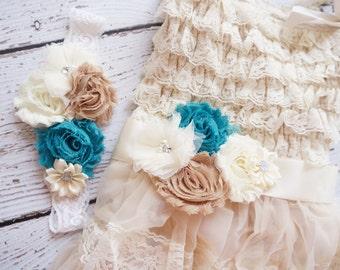 Flower Girl Dress - Lace Flower girl dress - Baby Lace Dress - Rustic - Country Flower Girl - Lace Dress -turquoise Lace dress -  Bridesmaid
