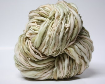 Handspun Wool Yarn Thick and Thin Slub  tts(tm) Merino Hand dyed Self-Striping LR 11c  Half-Pounder