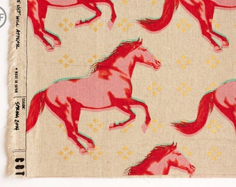 Mustang CANVAS Gallop in Pink Metallic, Melody Miller, Cotton+Steel, RJR Fabrics, Cotton and Linen Blend Canvas Fabric, 0008-012