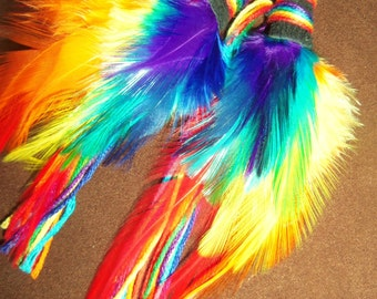 Feather Earrings- Rainbow Dancer Feather Earrings- Made to Order