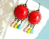 Retro Earrings, Red Earrings, Fiesta Earrings, Red Vintage Earrings, Chandelier Earrings, Retro Jewelry, Pink Aqua Yellow, Colorful Earrings