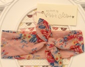 Fabric Stretch Knit Knotted Boho Headband Wrap Pink Floral Print