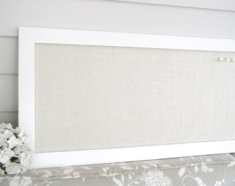extra long burlap bulletin board creamy white neutral magnetic organizer 14 x 50 narrow - White Framed Cork Board