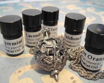 """Ornate Dragonfly Necklace -  24"""" Chain - Aroma Pads - Select One 100% Essential Oil - Lavender, Orange, Patchouli, Bergamot, More, 2 ml."""