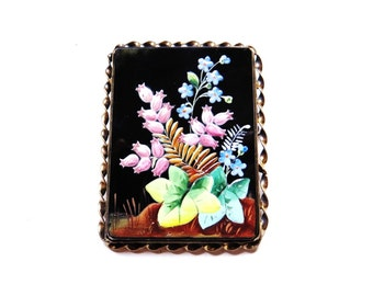 Antique Victorian Brooch Onyx Portrait Flowers Handpainted Sterling Silver Antique Jewelry Vintage Pins 1900s