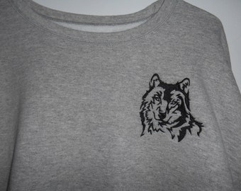 Mens Sweatshirt, Wolf Embroidery, Sweatshirt, Men XL Heather Gray, Gift Idea for Dad, Gift Idea for Grampa, Father's Day Gift, Birthday Gift