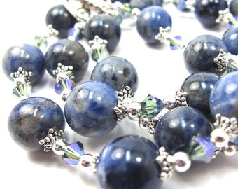 Sodalite Gemstone and Blue Green Crystal Necklace and Earring Set