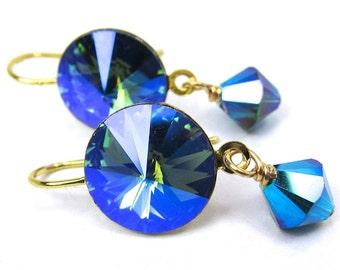 Swarovski Denim Blue Glacier Blue Crystal Earrings in Goldtone Setting