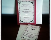 Christmas Red and Ivory Holly Wedding Rehearsal Dinner Invitations
