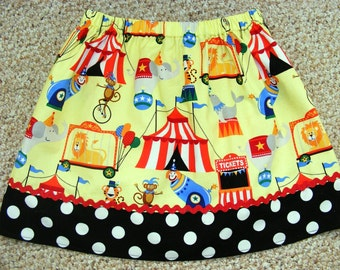 Let's Go to the Circus  Skirt (18 mos, 2T, 3T, 4T, 5, 6, 7)