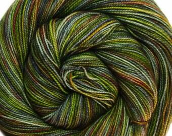 sw merino nylon high twist sock yarn LOTHLORIEN Lord of the Rings hand dyed fingering weight 3.5oz 400 yards