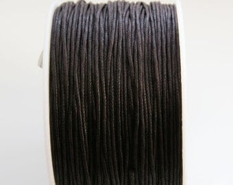 Dark Brown Waxed Cotton Cord, Waxed Cord String (1mm) 10 m- 11 yards S 40 085