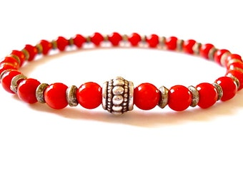 Healing Red Coral Yoga Bracelet, Gemstone Bracelet for Healing and Well Being