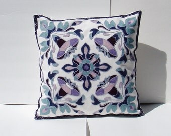 Embroidered Decorative Pillow Cover, Toss Pillow, Throw Pillow, Accent Pillow embroidered - floral medallion  18 x 18