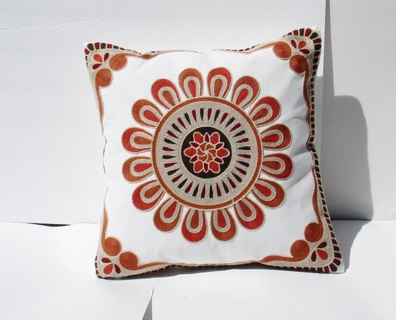 Embroidered medallion Decorative Pillow Cover, Toss Pillow, Throw Pillow, Accent Pillow embroidered - red and rust
