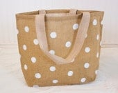 Polka Dot Burlap Tote Bag - White