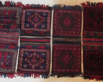 LOT of 4, Vintage,  Hand knotted, SADDLEBAGS from Afghanistan, Tribal Designs,  All Wool