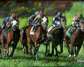 Final Furlong -Horse Racing LARGE A4 A3 or A2 Limited Edition Print of original color pencil drawing by Steve Russell of RussellArt