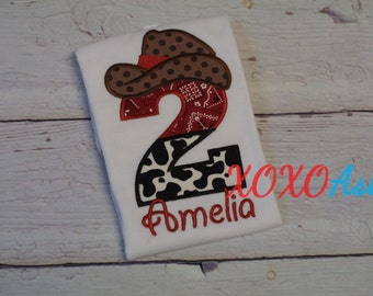 Boy or Girls Cowboy or Cowgirl Birthday Shirt--Any Age or Number--Embroidered shirt or Bodysuit
