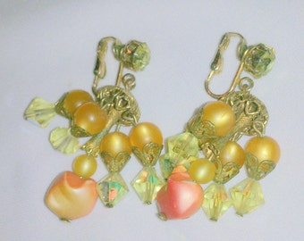 Vintage Bead Cluster Dangling Cha Cha Earrings