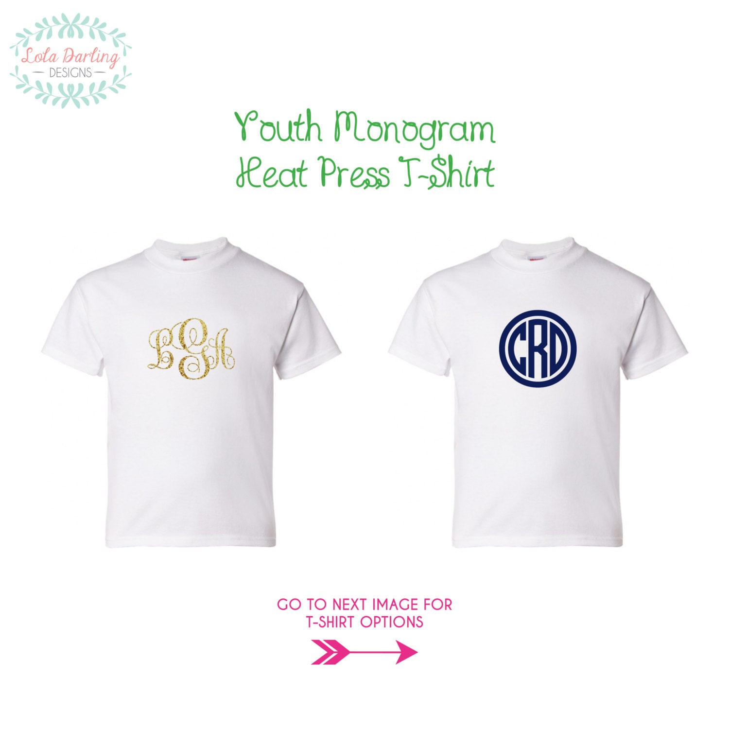 Monogram heat press youth t shirt by loladarlingdesigns on for Heat pressed t shirts