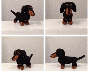 Crocheted Dachshund - Amigurumi - Handmade dog - made to order