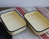 One Rectangular enamel bowl box enamelware container with lid  UNUSED  kitchen decor  Soviet USSR